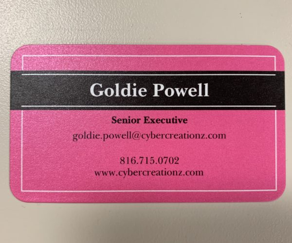 Goldie front Business card